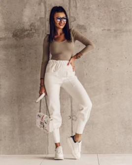 Γυναικείο αθλητικό παντελόνι με τσέπες 18081 άσπρο