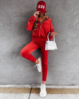 Γυναικείο βελούδινο σετ 5958 κόκκινο