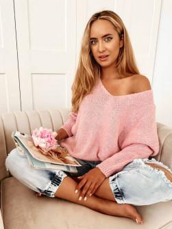 Γυναικείο μονόχρωμο πουλόβερ 83771 ροζ