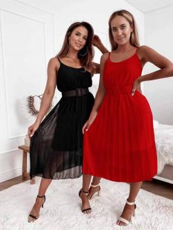 Γυναικείο φόρεμα μίντι με ζώνη 5826 κόκκινο