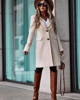 Γυναικείο κομψό παλτό με φόδρα 5355 μπεζ