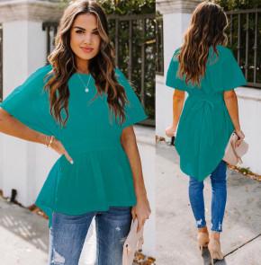 Γυναικείο μπλουζοφόρεμα με κορδόνι 5063 τυρκουάζ
