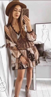 Γυναικείο φόρεμα με print 3629 καφέ