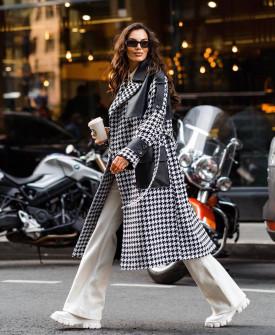 Дамско палто пепит с кожени елементи 174705
