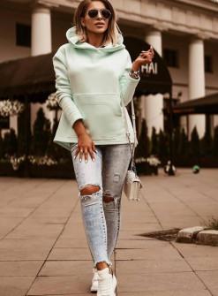 Γυναικείο φούτερ με κουκούλα 4100 μέντα