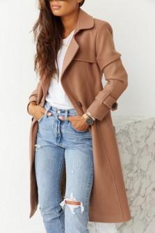 Εντυπωσιακό παλτό με φόδρα 5415 καμηλό