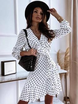 Γυναικείο πουά φόρεμα 3906 άσπρο