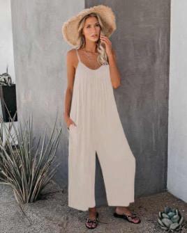 Γυναικεία χαλαρή ολόσωμη φόρμα 5165 μπεζ