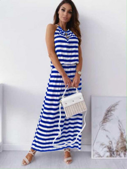 Γυναικείο μακρύ φόρεμα ριγέ 12282 μπλε