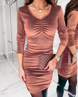 Γυναικείο εφαρμοστό φόρεμα 3434 ροδακινί
