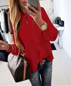 Γυναικεία μπλούζα με κορδέλα στον λαιμό 3263 κόκκινο