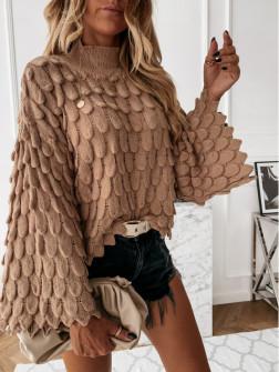 Γυναικείο πουλόβερ με φαρδύ μανίκι 00695 καμηλό