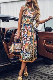 Γυναικείο φόρεμα με σχέδια plus size 9230