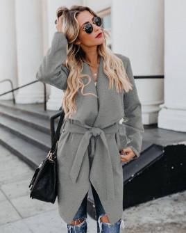Γυναικείο παλτό με μάκρος κάτω από το γόνατο 5291  γκρι