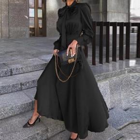 Γυναικείο φόρεμα σατέν με φιόγκο στο λαιμό 2525 μαύρο