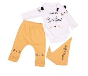 Βρεφικό σετ 3τμχ. με γατάκι - κορμάκι, παντελόνι και σαλιάρα 50515451 κίτρινο