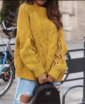 Γυναικείο πουλόβερ με εντυπωσιακά μανίκια 00861 κίτρινο
