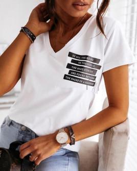 Γυναικείο κοντομάνικο με print 3724 άσπρο