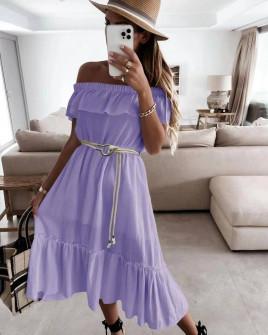 Γυναικείο φόρεμα με ζώνη 5695 λιλά