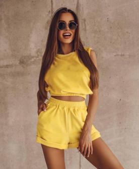 Γυναικείο σετ τοπάκι και σορτσάκι 2465 κίτρινο