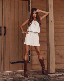 Γυναικείο κοντό φόρεμα 88199 άσπρο