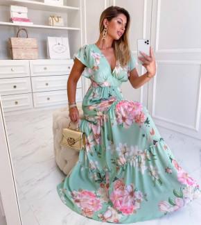 Γυναικείο plus size μακρύ φόρεμα 2125501 μπλε