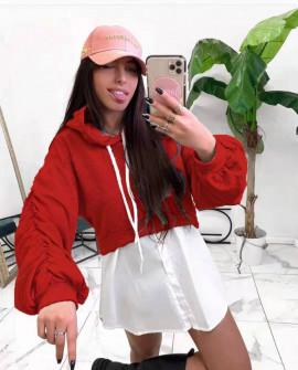 Γυναικείο φούτερ με όψη πουκαμίσου 2836 κόκκινο