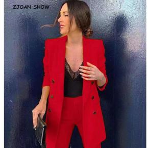 Γυναικείο σετ σακάκι και παντελόνι 5013 κόκκινο