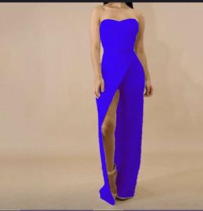 Ολόσωμη φόρμα-φόρεμα με σκίσιμο 2385 μπλε