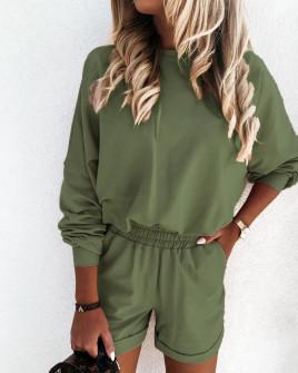 Γυναικείο σετ φούτερ και σορτσάκι 2403  σκούρο πράσινο