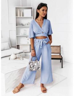 Γυναικείο σετ μπλούζα και παντελόνι 5751 γαλάζιο