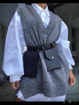 Γυναικείο αμάνικο πουλόβερ 2067 γκρι