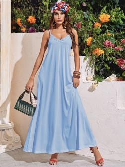 Γυναικείο μακρύ φόρεμα 5156 γαλάζιο