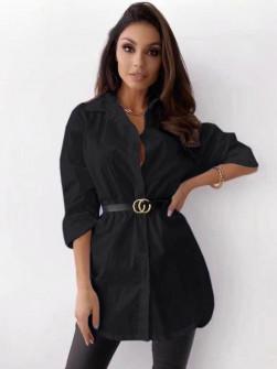 Γυναικείο πουκάμισο με ζώνη 5481 μαύρο