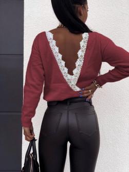 Μπλούζα με εντυπωσιακή πλάτη 3343 μπορντό