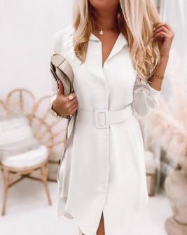 Γυναικείο φόρεμα με ζώνη 5961 άσπρο