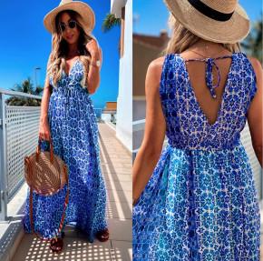 Γυναικείο μακρύ φόρεμα 2391 μπλε