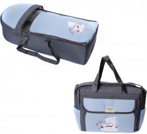 Σετ πορτ μπεμπέ και τσάντα 00453 γκρι/γαλάζιο