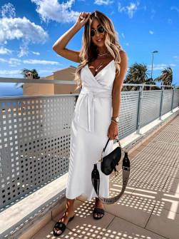 Γυναικείο φόρεμα σατέν 5160 άσπρο
