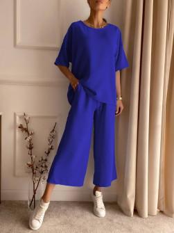 Γυναικείο χαλαρό σετ 14557 μπλε