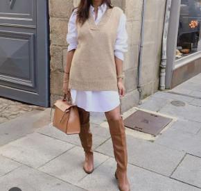 Γυναικείο αμάνικο πουλόβερ 2067 μπεζ