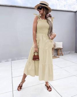 Γυναικείο φόρεμα με τσέπες 5760 μπεζ