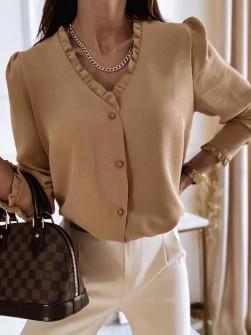 Γυναικείο μοντέρνο πουκάμισο 5993 καμηλό