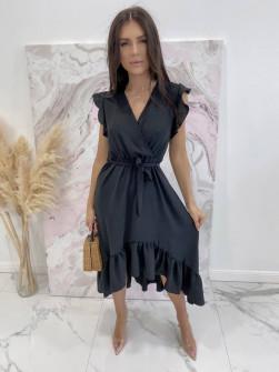 Γυναικείο ασύμμετρο φόρεμα 3690 μαύρο