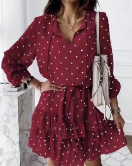 Γυναικείο πουα φόρεμα 56303 μπορντό