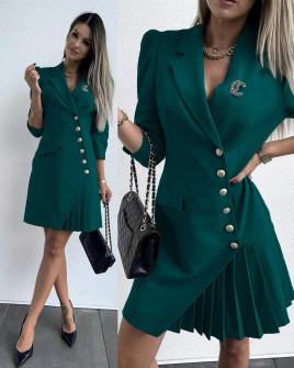 Γυναικείο μοντέρνο φόρεμα με κουμπιά 3818 πράσινο