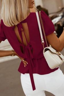 Γυναικεία μπλούζα με ανοιχτή πλάτη 5871 μπορντό