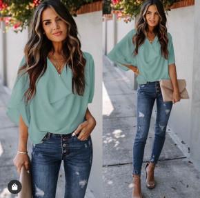 Γυναικεία μπλούζα με χαλαρό ντεκολτέ 50811 μέντα