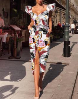 Γυναικείο φόρεμα με κουμπιά και εντυπωσιακό μανίκι 522102