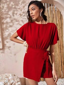 Γυναικείο φόρεμα κρουαζέ 9255 κόκκινο